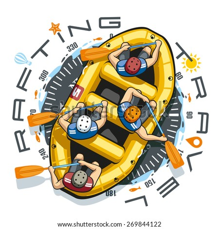 Against the background of a round compass in a yellow inflatable boat rafting sit four men in helmets and life jackets. People are holding paddles and work together. - stock vector