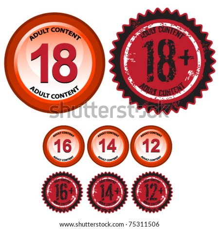 age stamps and signs - grunge and glossy - stock vector