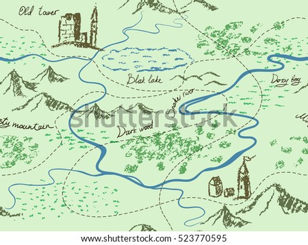 Aged fantasy vintage seamless map mountains stock photo photo aged fantasy vintage seamless map with mountains buildings trees hills river gumiabroncs Choice Image