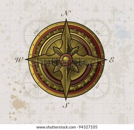 Aged Metal Compass Rose - stock vector