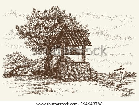 Aged rock source basin with crank covered tiled canopy on village yard. Romantic view. Freehand outline ink hand drawn background sketch in art retro engraving graphic style pen on paper