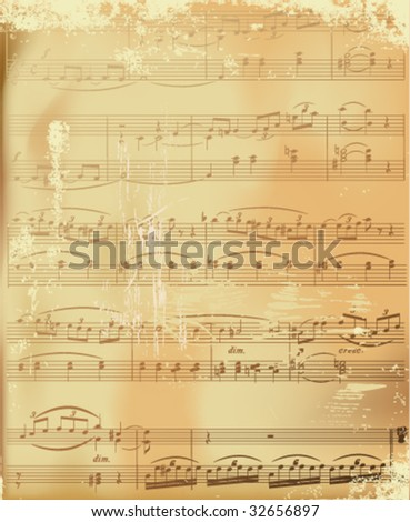 aged sheet music-vector illustration - stock vector