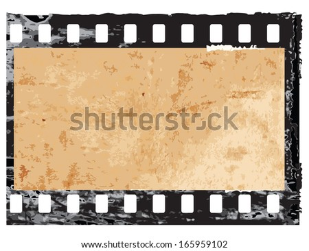 Aged vector illustration of a grunge filmstrip frame. - stock vector