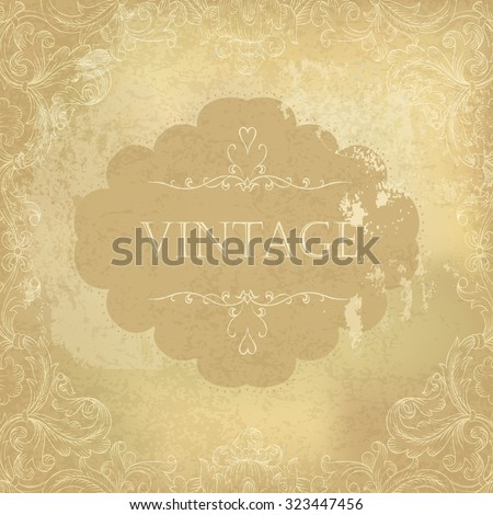 Aged vintage ornamental old paper background. Vector illustration - stock vector
