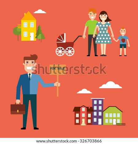 Agent for the sale of real estate or a home buyer holding a portfolio and a sign saying the sale of real estate, take couple with children to buy or rent a house - stock vector