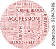 AGGRESSION. Word collage on white background. Vector illustration. - stock vector