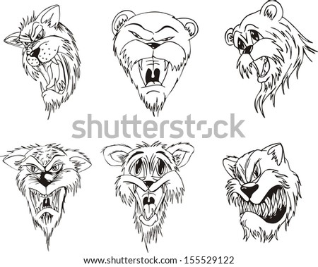 rorius 39 s animal head tattoos set on shutterstock. Black Bedroom Furniture Sets. Home Design Ideas