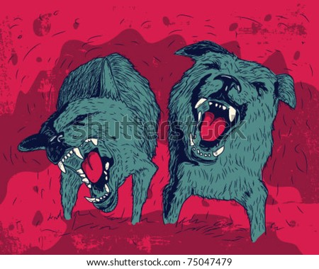 aggressive dog. - stock vector