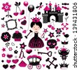 aggressive style fashion princess set with castle and other cute elements in black and red - stock vector