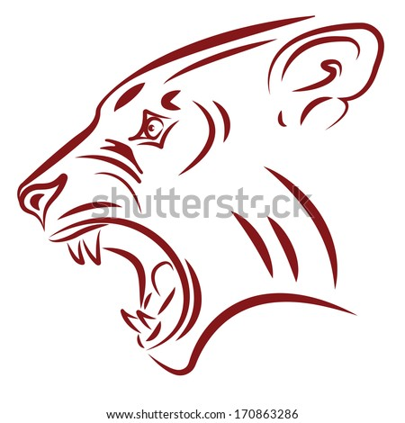 aggressive wildcat fangs tattoo vector illustration - stock vector