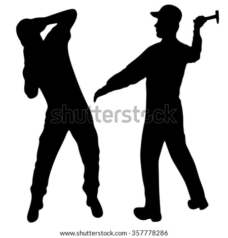 aggressive young  man trying to attack another man with an hammer - stock vector