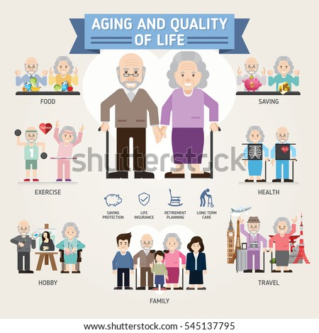 Aging Quality Life Senior Man Woman Stock Vector 545137795