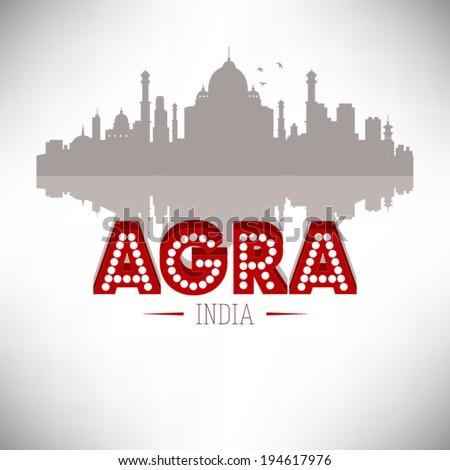 Agra India skyline silhouette design, vector illustration. - stock vector