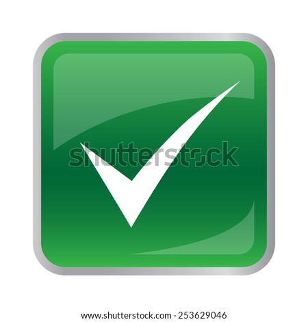 Agree icon on green button. Vector illustration