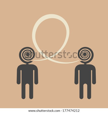 agreement about topic of the discussion, two people talking the same language - stock vector