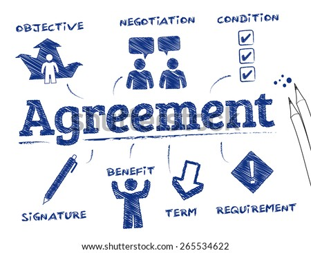 Agreement. Chart with keywords and icons - stock vector