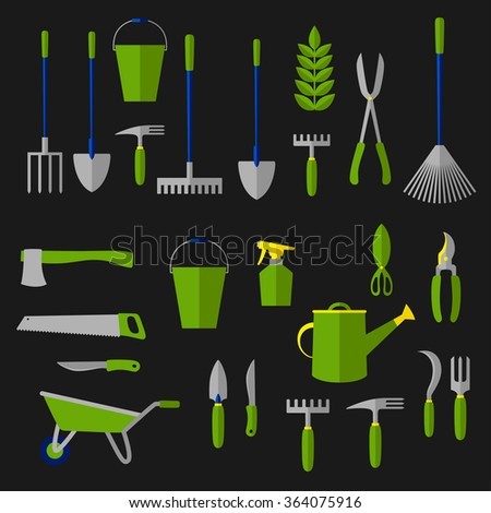 Agricultural and gardening tools icon with rakes, shovels, green plant, watering can, pitchfork, scissor, wheelbarrow, shears, trowel, knife, secateurs, saw, weeding hoes, sprayer, axe, sickle. Flat - stock vector