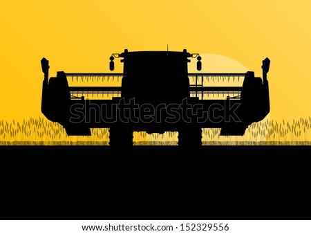 Agricultural combine harvester in grain field seasonal farming landscape scene illustration background vector - stock vector