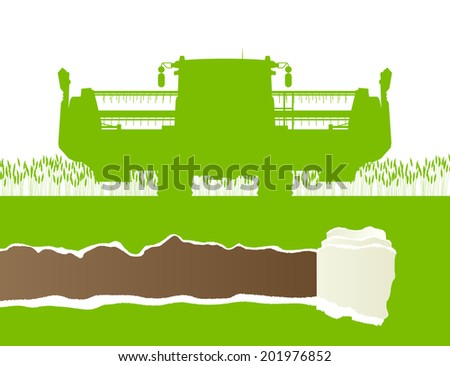 Agricultural combine harvester in grain field seasonal farming landscape scene illustration background vector ecology concept with ripped paper copy space - stock vector