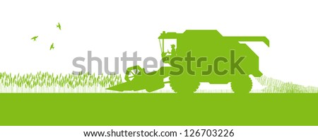 Agricultural combine harvester seasonal farming landscape ecology concept - stock vector