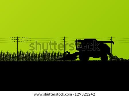 Agricultural combine harvester seasonal farming landscape scene illustration background vector - stock vector