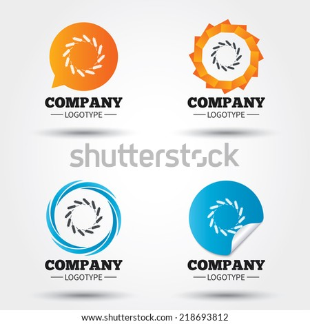 Agricultural sign icon. Wreath of Wheat corn. Gluten free or No gluten symbol. Business abstract circle logos. Icon in speech bubble, wreath. Vector - stock vector