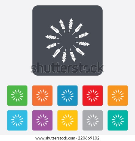Agricultural sign icon. Wreath of Wheat corn. Gluten free or No gluten symbol. Rounded squares 11 buttons. Vector - stock vector