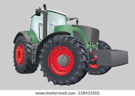 Agricultural tractor with big wheels vector illustration - stock vector