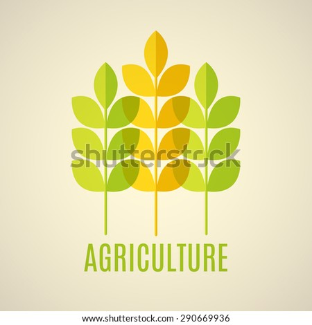 Agricultural vector emblem with green and yellow cereal ears. Eps 10 with transparent elements. - stock vector