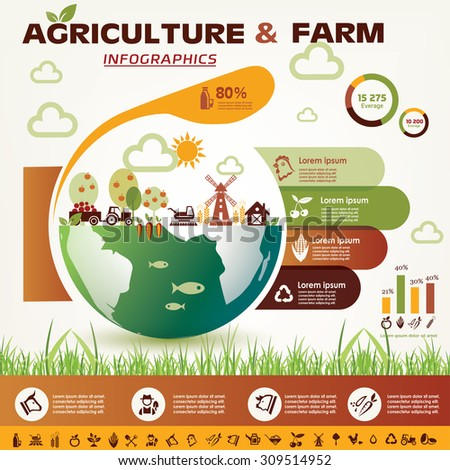 agriculture and farming infographics, vector icons collection - stock vector