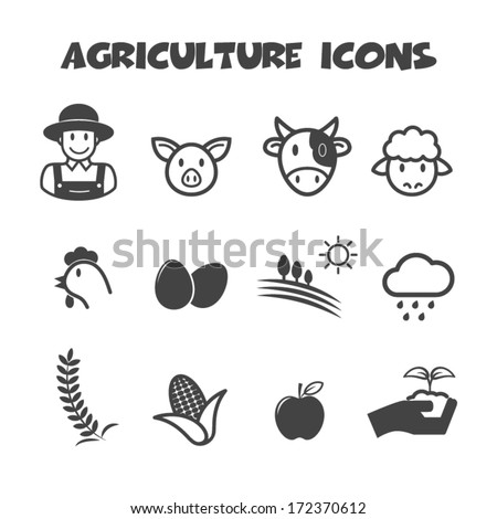 agriculture icons, mono vector symbols - stock vector