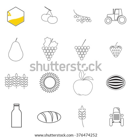 agriculture icons on white background