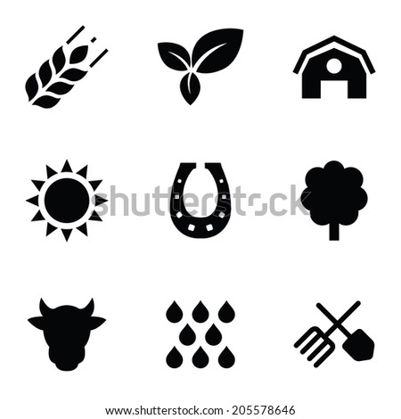 agriculture 9 icons set, isolated, black on white background - stock vector
