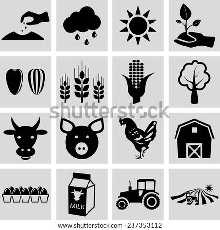 Agriculture icons, vector illustrations