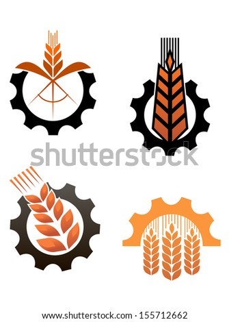 Agriculture icons with cereal grains and industrial gears or idea of logo. Jpeg version also available in gallery - stock vector