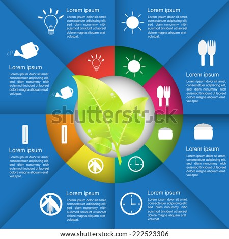 Agriculture infographics, Leafs inforgaphics, Ecology Business Template.  Diagram Circle Design, Workflow/Element Layout Design. Vector illustration. - stock vector