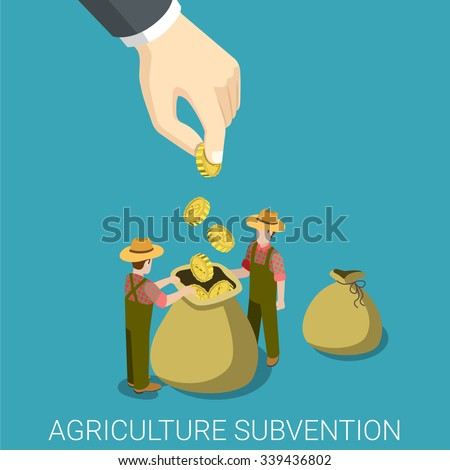 Agriculture subvention farming business government isometry concept flat 3d isometric web infographics vector illustration. Big hand seed to farmers bag. Creative people collection. - stock vector