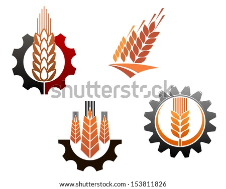 Agriculture symbols set with cereal ears and machine gears or idea of logo. Jpeg version also available in gallery - stock vector