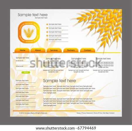 agriculture theme web design template - stock vector