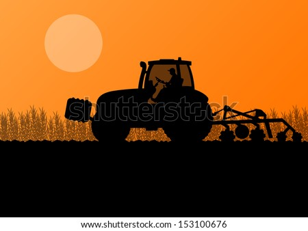 Agriculture tractor cultivating the land in cultivated country corn field landscape background illustration vector - stock vector