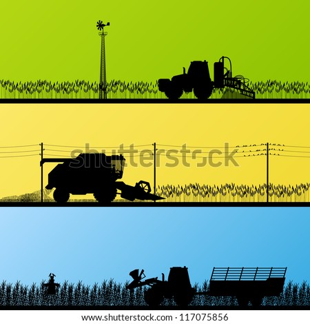 Agriculture tractors and harvesters in cultivated country fields landscape background illustration vector - stock vector