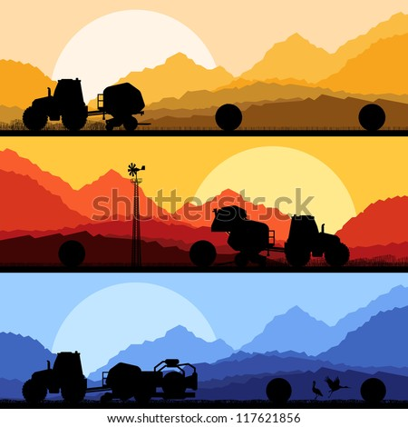 Agriculture tractors making hay bales in cultivated country fields landscape background illustration vector - stock vector