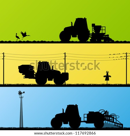 Agriculture tractors sowing crop, cultivating and spraying in cultivated country fields landscape background illustration vector - stock vector