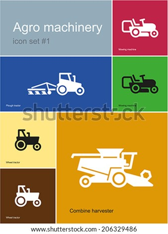 Agro machinery in set of Metro styled icons. Editable vector illustration. - stock vector