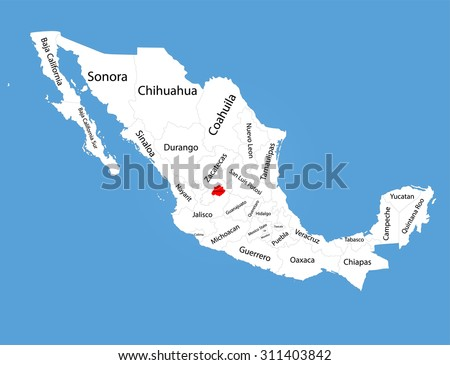 Aguascalientes, state in Mexico, vector map silhouette isolated on Mexico map. Editable blank vector map of Mexico.  - stock vector