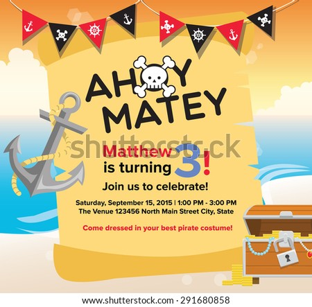 Ahoy matey pirate birthday invitation card stock vector 291680858 ahoy matey pirate birthday invitation card template stopboris Gallery