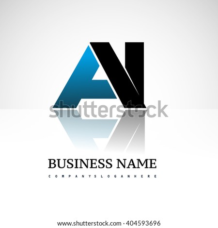 AI company linked letter logo icon blue and black - stock vector