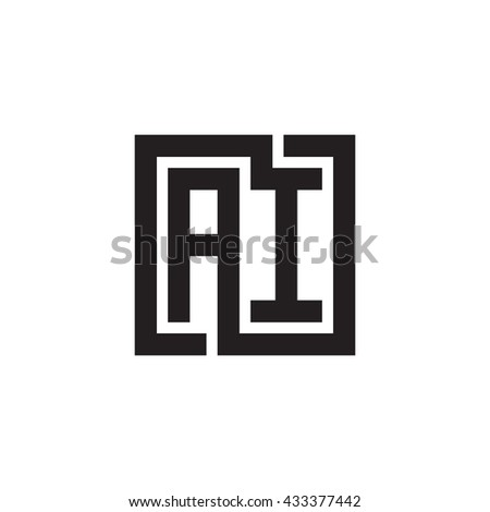 AI initial letters looping linked square monogram logo