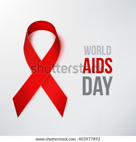 AIDS Awareness Ribbon. World AIDS Day. Red Ribbon. - stock vector