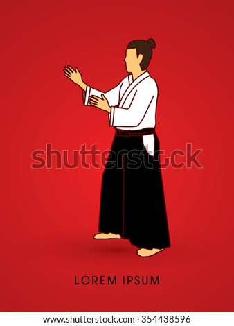 Aikido pose ready to fight graphic vector - stock vector